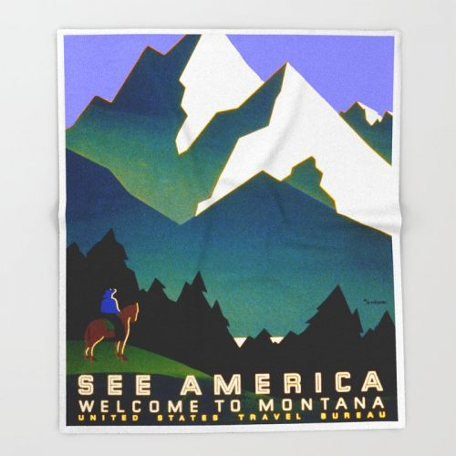 "See America Montana - Retro Travel Poster Bed Throw Blanket by Yesteryears - 51"" x 60"" Blanket"