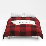 "Montana Is Home - Buffalo Check Plaid Comforters by Abby A - Full: 79"" x 79"""