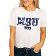 Montana State Bobcats Women's No Time to Tie Dye Crop T-Shirt - White