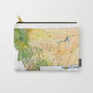 "Montana Painted Map Carry All Pouch / Travel & Pencil Pouch by Tara Tea - Small (6"" x 5"")"