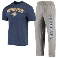 Montana State Bobcats Concepts Sport Satellite Pants and T-Shirt Sleep Set - Gray/Navy